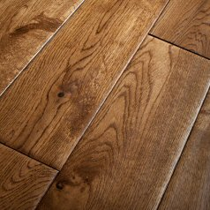 Solid Oak 130mm wide Hand Scraped - Dark Stain